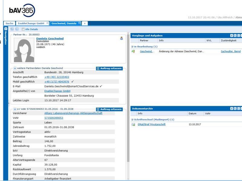 Arbeitgeber Ansicht auf Arbeitnehmer im Portal