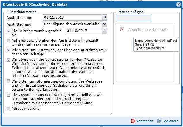 Arbeitgeber Portal Änderung Arbeitnehmer Dienstaustritt2